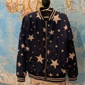 Girls' Navy Blue (reversible) Stars Jacket